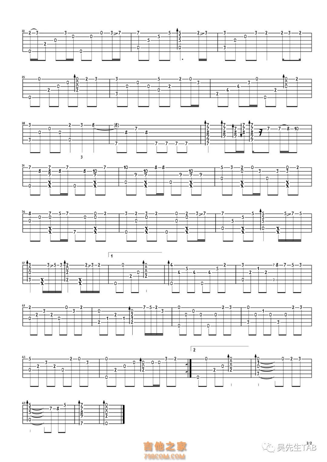月半小夜曲指彈吉他譜 李克勤[吳先生TAB] - 吉他譜 - 吉他之家
