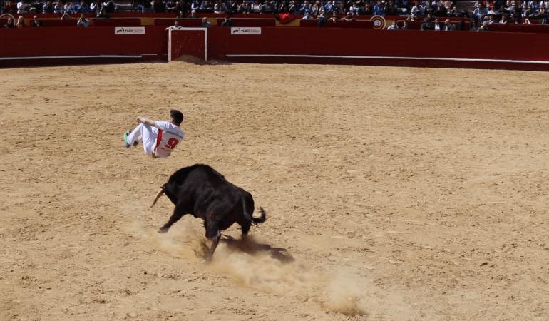 "A ""recortador"" jumping over a bull."