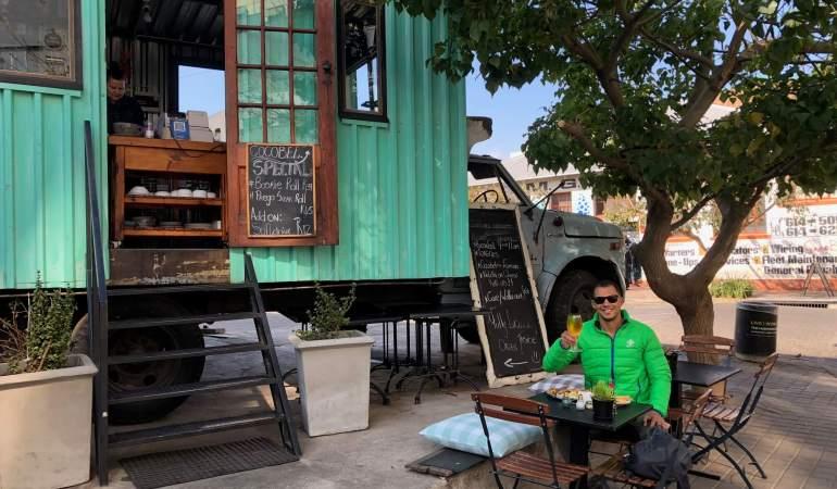 Having breakfast in a restaurant in Maboneng.
