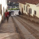 Cobbled street going down to Plaza de Armas
