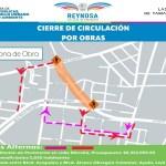 Aviso de cierre de vialidad en avenida Espuela y calle Morelia