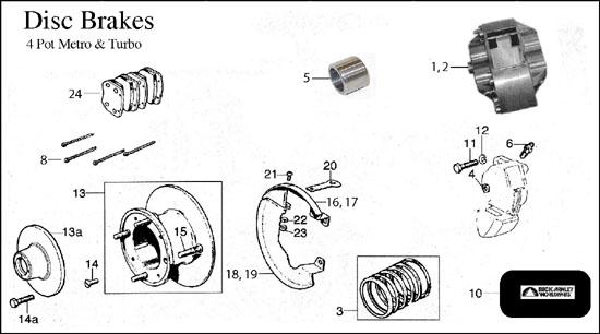 Brakes, Disc 4 Pot Metro, Turbo