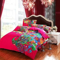 4-pieces Colorful Peacock Animal Red Floral Prints Duvet ...