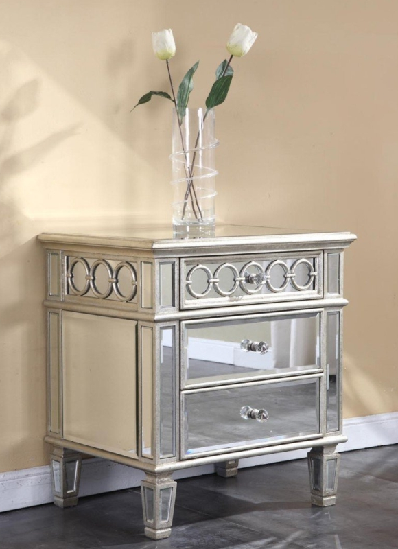 Mirrored Night Stand End Table in Silver Leaf Finish  7
