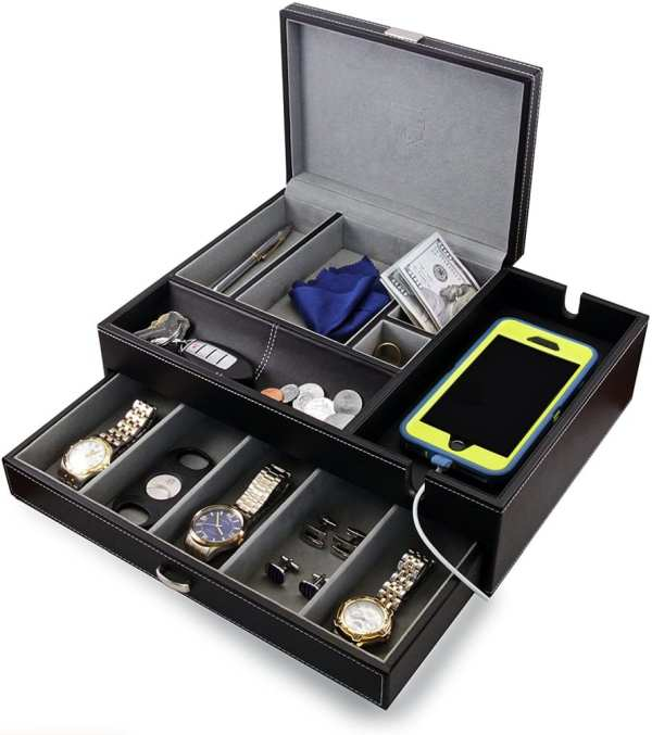 Big Dresser Valet Box & Mens Jewelry Organizer With