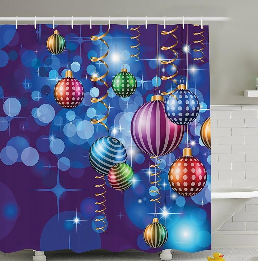 Christmas Decorations Shower Curtain Set 7 Gadgets