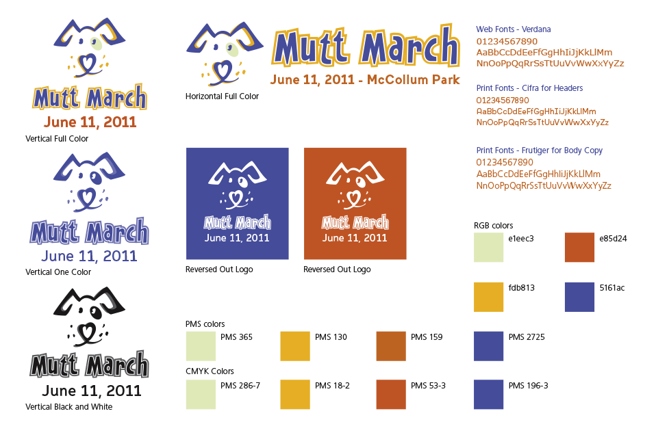 Mutt March Branding Sheet by Dara Chilton with 7 Lucky Dogs Creative