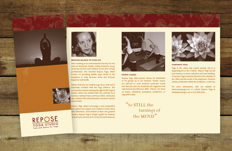 Repose Yoga Brochure Design by Dara Chilton with 7 Lucky Dogs Creative