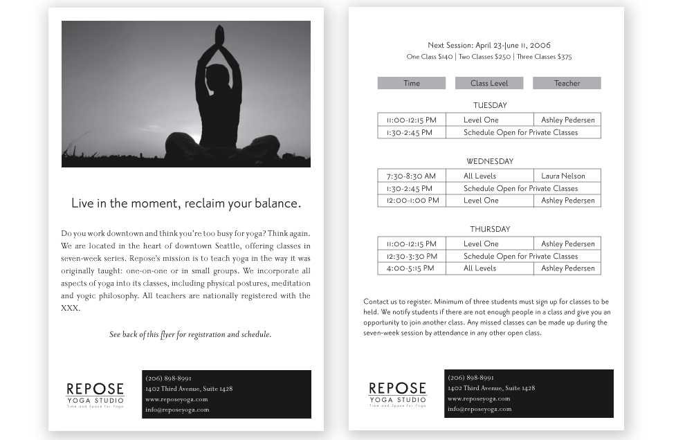 Repose Yoga Flyer Design by Dara Chilton with 7 Lucky Dogs Creative