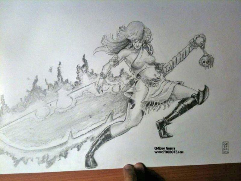 Art Big Sword Mama. Art by Miguel Guerra