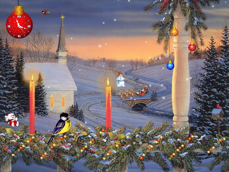Moving Falling Snow Wallpaper Christmas Candles Christmas Screensaver