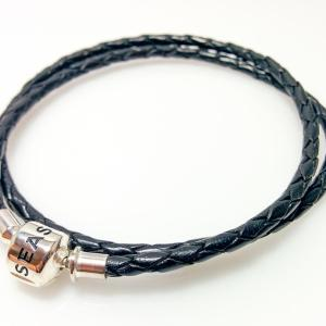 Double strand leather bracelet, black - 7SEASJewelry