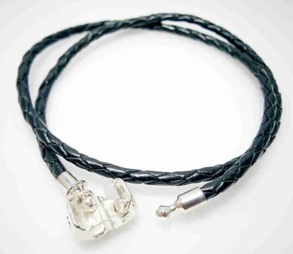 Double strand leather bracelet, black - 7SEASJewelry