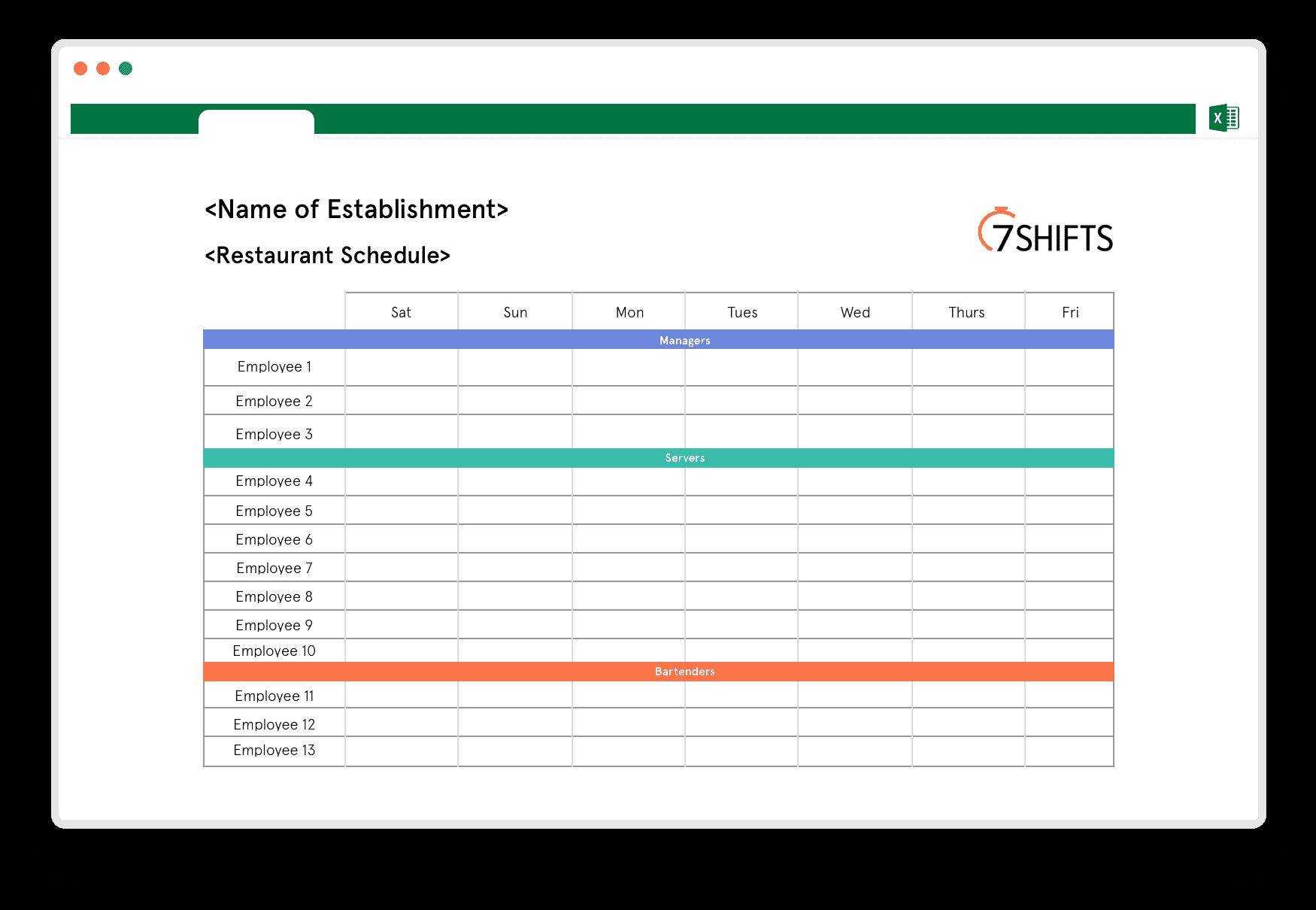 Restaurant Schedule Excel Template