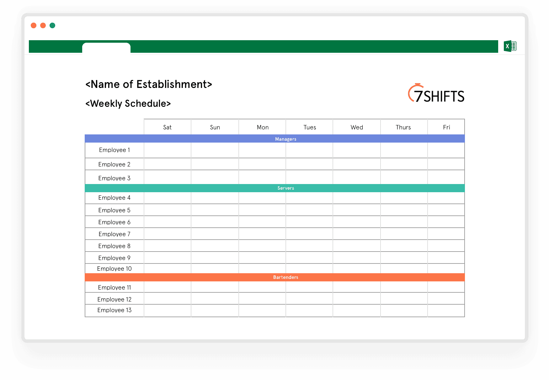 Download Free Weekly Work Schedule Excel Template