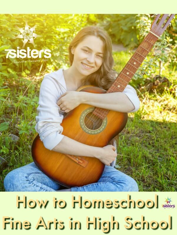 How to Homeschool Fine Arts in High School. Fine Arts is a required credit for the homeschool transcript in many states. Here are tips to help you find the easiest, most do-able, fun way to earn the Fine Arts credit. #HomeschoolHighSchool #HomeschoolFineArts #FineArtsForHomeschoolTranscript