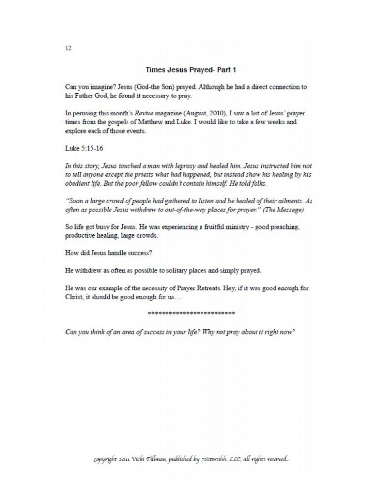 Excerpt from Prayer Journal 2
