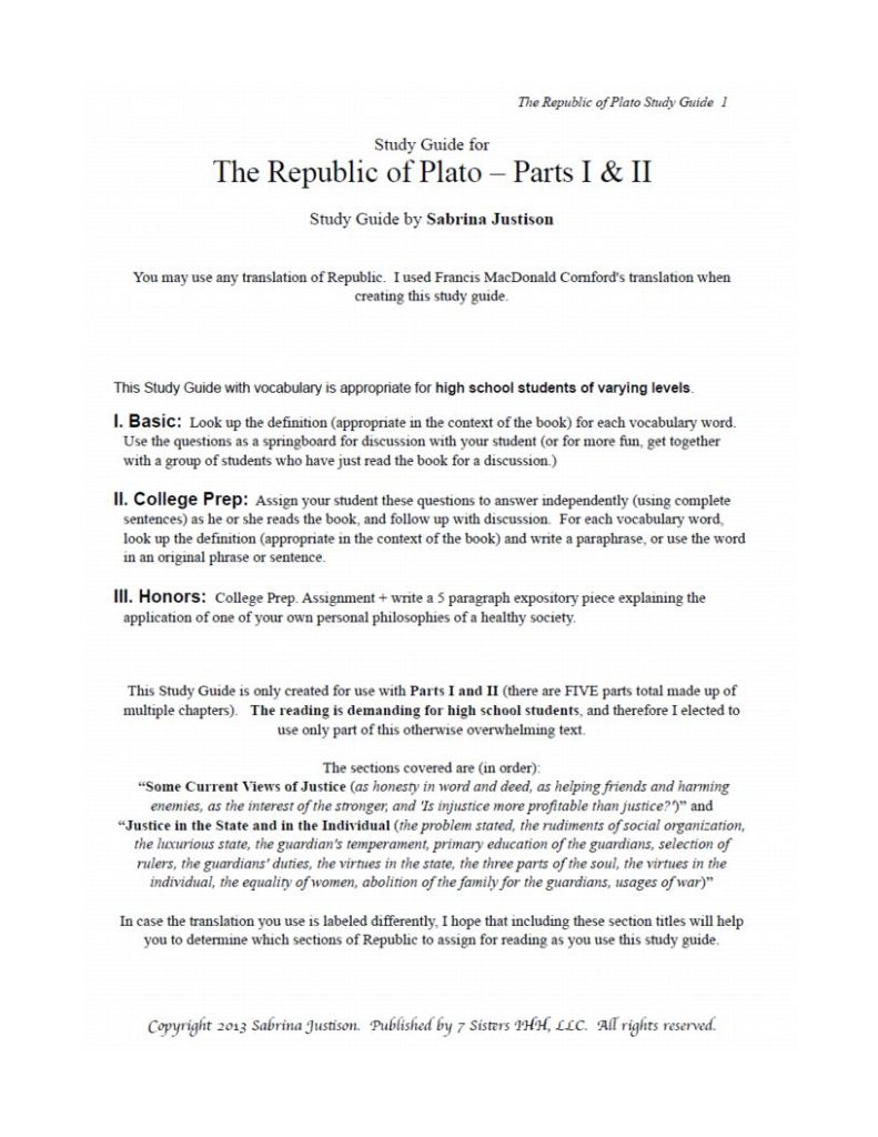 Excerpt from Plato's Republic Study Guide
