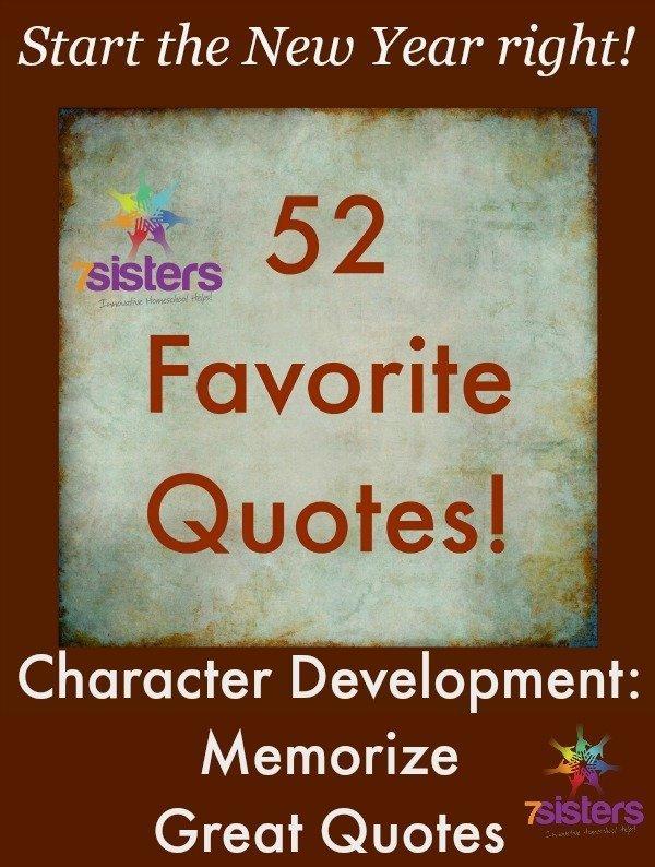 Character Development: Memorize Great Quotes from 7SistersHomeschool.com