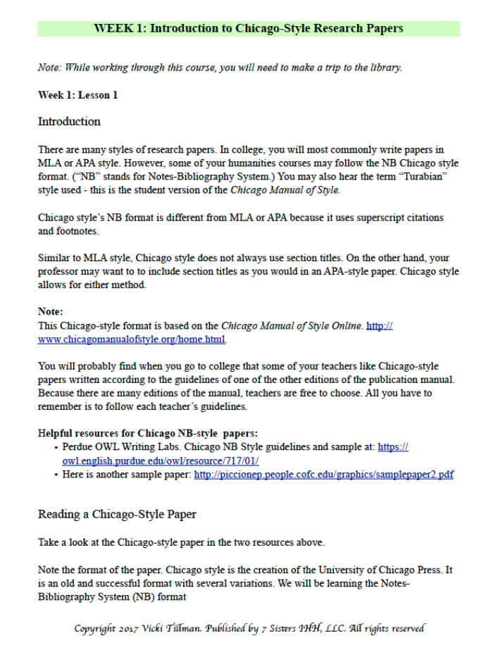 Excerpt from Chicago Style Research Paper Writing Guide