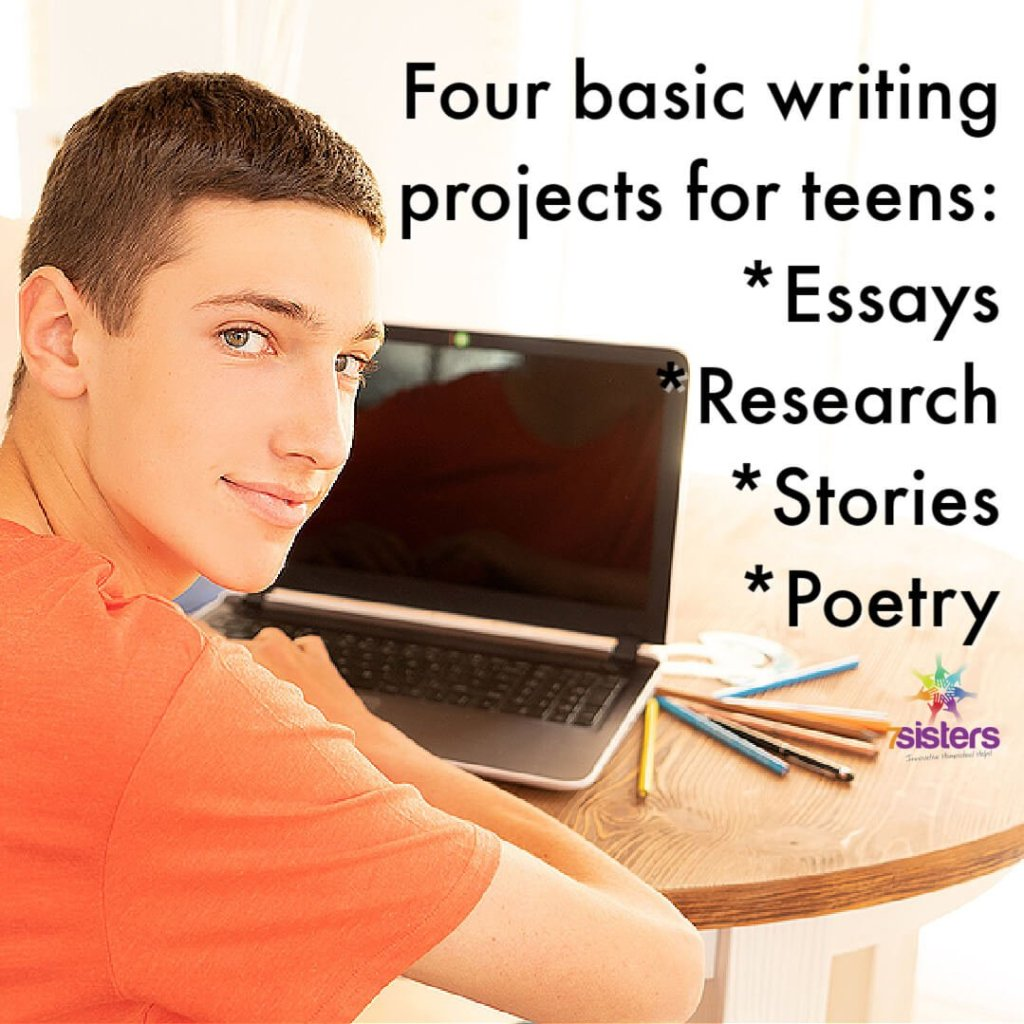 Four basic writing projects for homeschool high school: Essays, Research papers, Short stories, Poetry