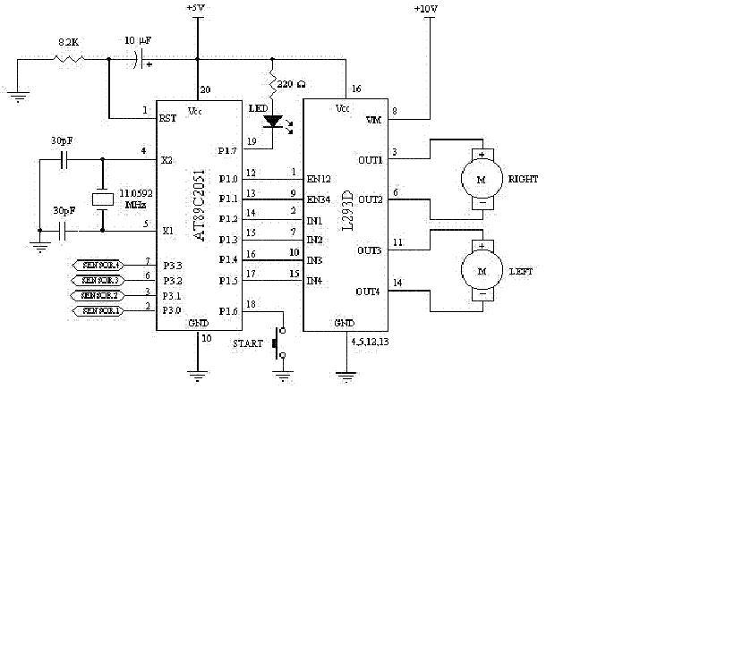obstacle avoiding robot circuit diagram using 8051 microcontroller