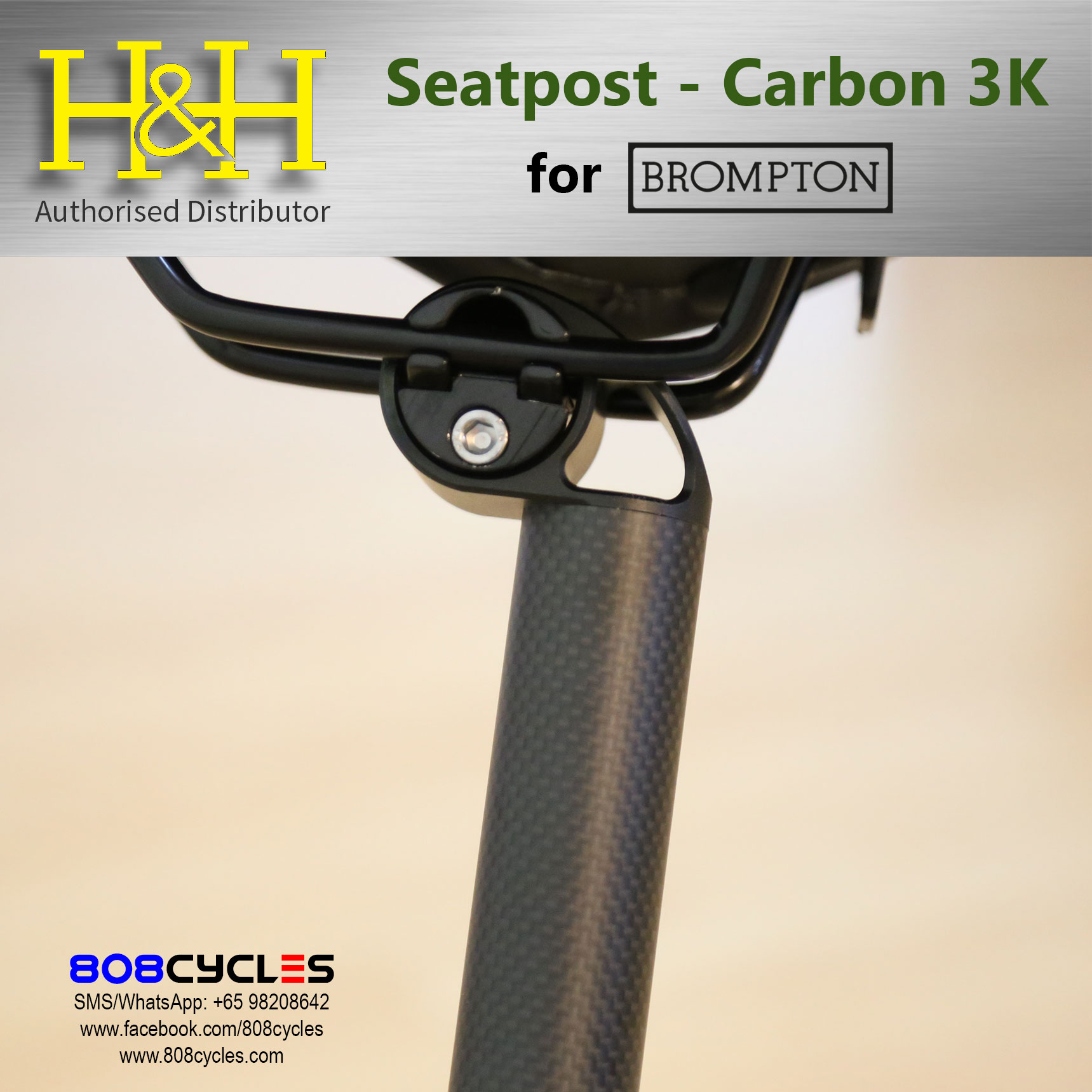Brompton Extended Seatpost Carbon 12K Pattern 600mm H/&H