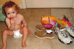 Little Lemmy sneaks from Mom and Dad's shoes