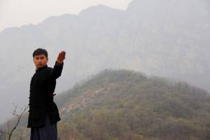 Liu stands in front of a misty mountain scene, demonstrating a wushu pose