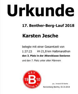 Urkunde Benther-Berg-Lauf 2018