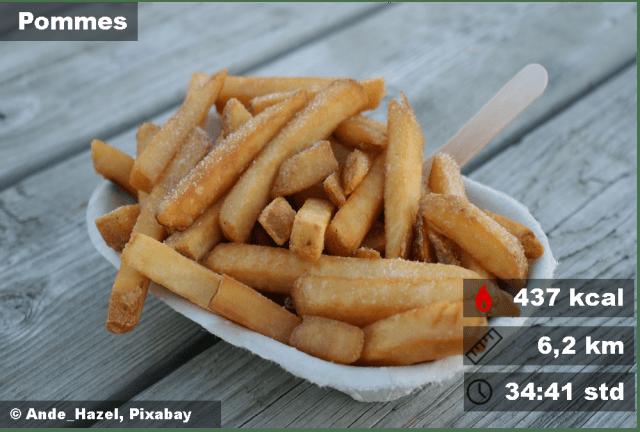 6,2 km ist die Distanz, die man für eine Portion Pommes laufen muss