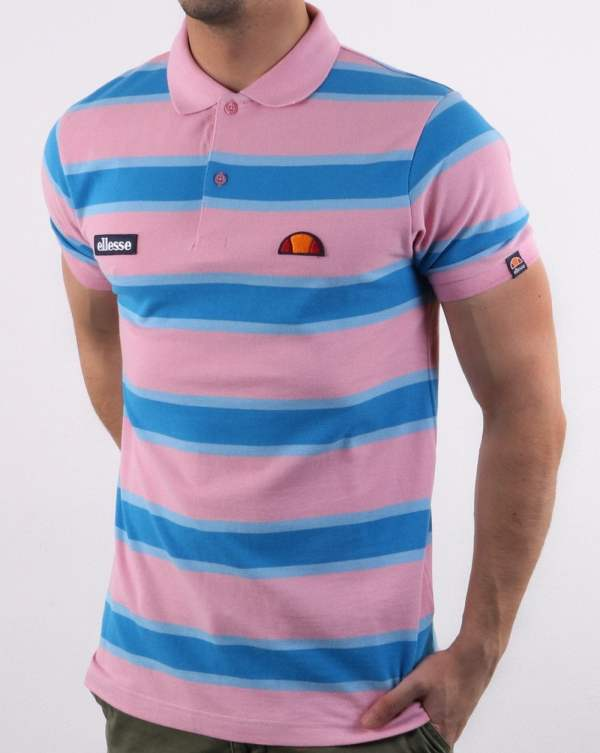 08e3fad08 Ellesse Marono Polo Shirt In Pink And Blue Mens Clothing