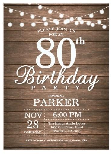 80th birthday invitations 30