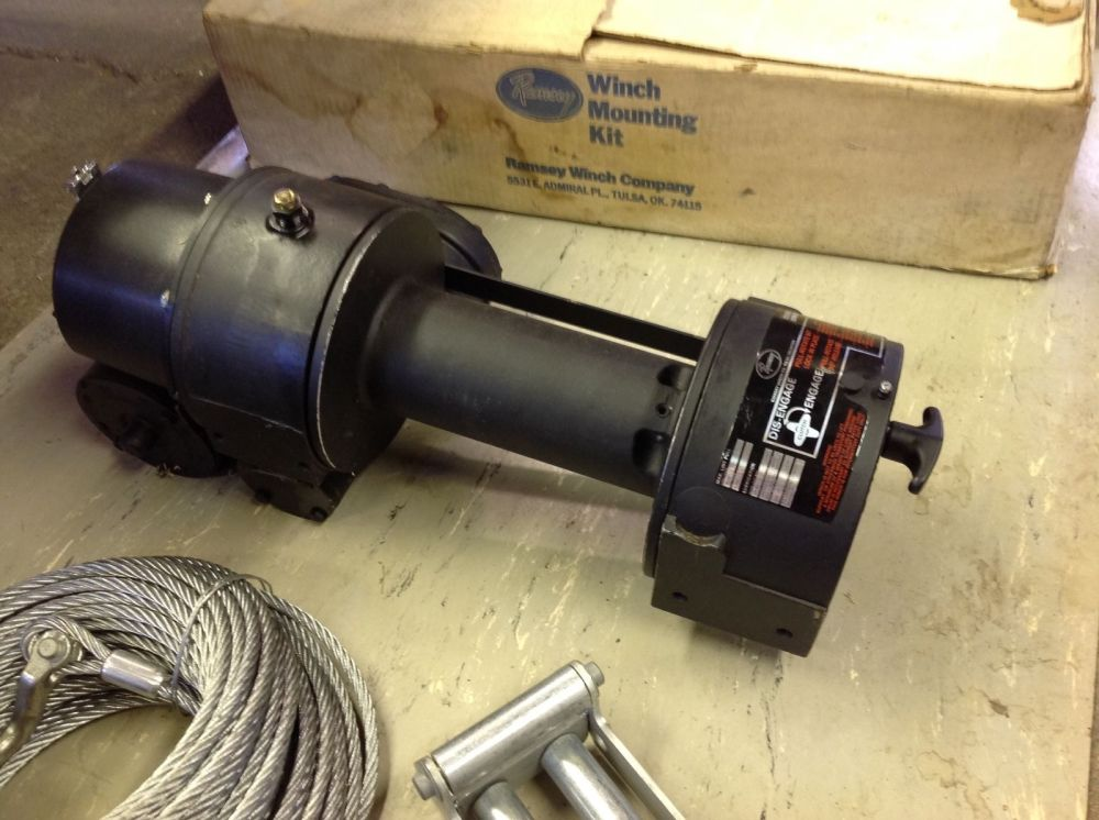 medium resolution of below are some close up pictures of the nos new old stock ramsey 2001 winch and nos mounting kit used on 0152 yes an nos ramsey winch and mounting kit