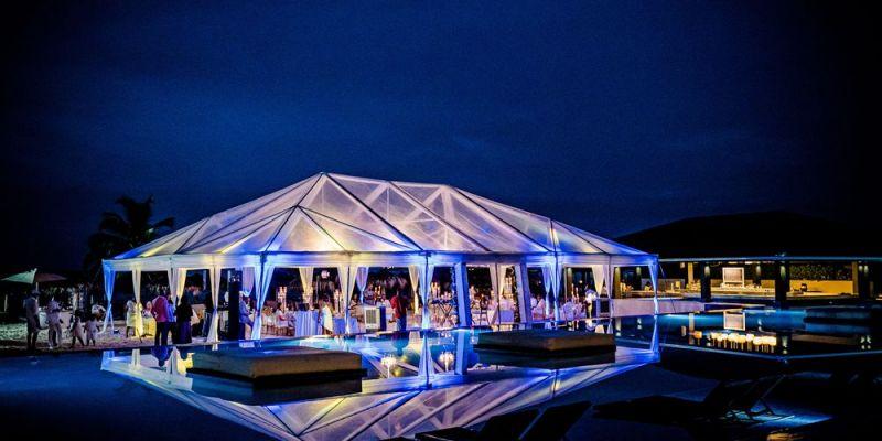 Wedding Tent uplighting by poolside - Royalton White Sands