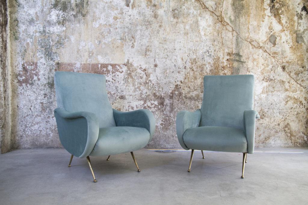Poltrona anni 60 di design rivestita a nuovo pelle blu colore blu â condizioni: Poltrone Anni 50 Stile Lady Zanuso 8 7 Design Space