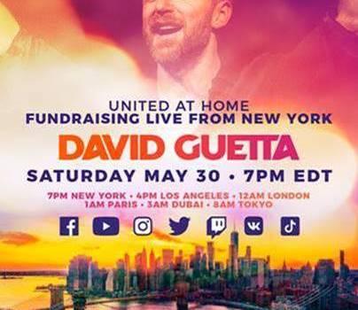 """David Guetta será el anfitrión de la fiesta en casa más grande de Nueva York con el segundo evento de caridad transmitido en vivo de la mano con """"United at Home"""""""