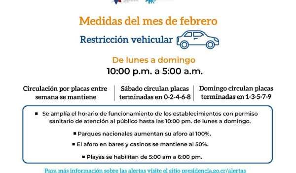 Horario de restricción vehicular sanitaria se unifica de 10:00 p.m. a 5:00 a.m. durante toda la semana