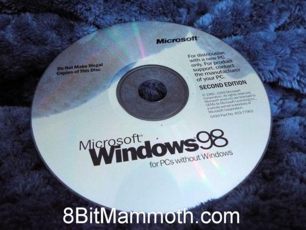 A photo of a Windows 98 SE disc