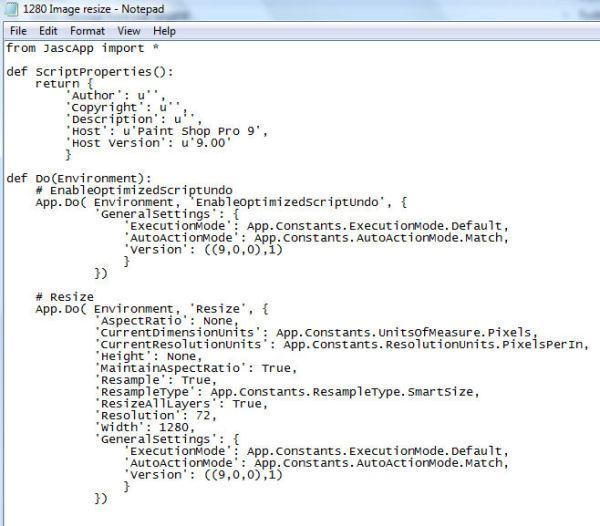 1280 PSP9 batch image resize script