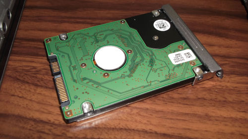 Hard drive attached to a Dell Latitude D630 caddy
