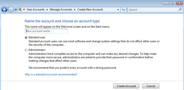 Microsoft Windows Vista - Create a standard user