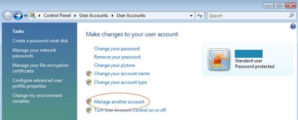 Microsoft Windows Vista - Manage another account