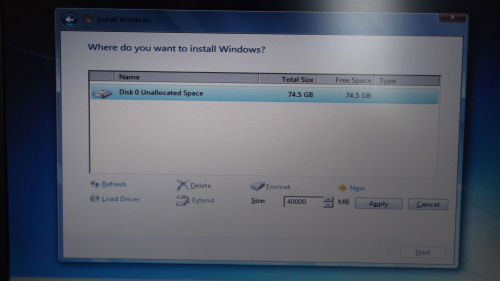 Preparing the hard drive partition for Windows 7