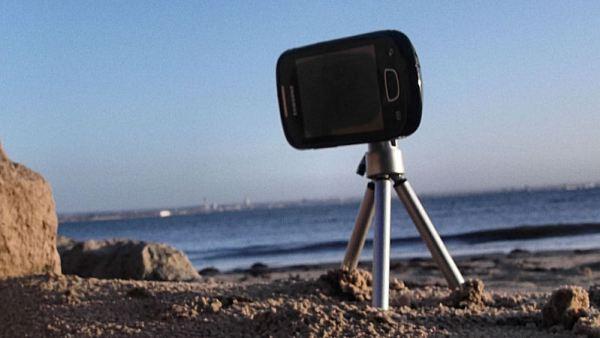 Samsung Galaxy Mini GT-S5570 Attached to a Camera Tripod