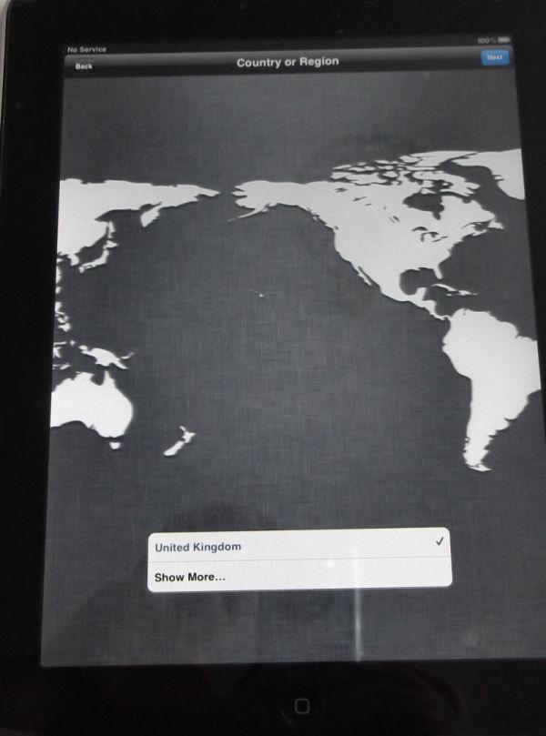 iPad Country Region Selection