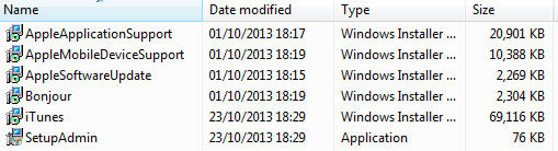 iTunes Setup Archive Files