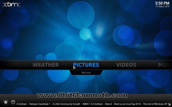 XBMC Main Screen