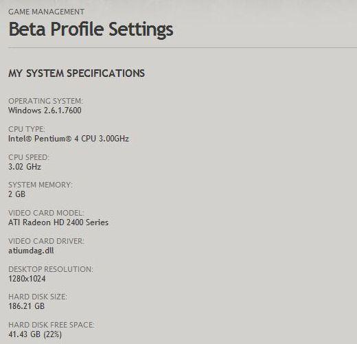 my old system spec