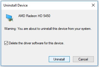 Uninstall AMD Radeon HD 5450 device